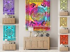 10 PC Wholesale Lot Indian Cotton Wall Hanging OM Mandala Table Cover Yoga Mat