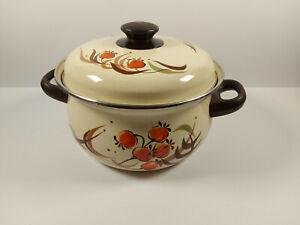 Vintage Cream Enamel Lidded Double Handle Cooking Pot Casserole Retro Cookware