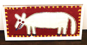 "Richard Burnside ""White Wolf II"" folk art painting Framed,  signed NICE  !!"