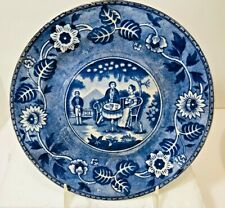 "Maestricht Holland Blue Tea Drinker Transferware Plate Societe Ceramique 7"" EVC"