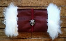Victorian Steampunk Muff, Hand Warmer, White Fur, Red Faux Leather, Silver Heart