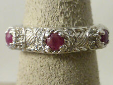 Judith Ripka Sterling Silver, Rubies, & Diamonique Band/Ring Size 6