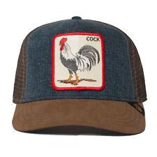 "Goorin Bros. Animal Farm Trucker Snapback Hat Cap Big Strut DENIM/Brown/""Cock"""