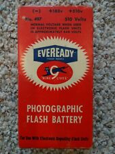 VINTAGE EVEREADY NINE LIVES PHOTOGRAPHIC FLASH  BATTERY UNUSED NO 497 510 VOLTS