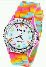 New Multi Color Rainbow Silicone Watch w Rhinestones》Ceramic Style》Big Face Dial
