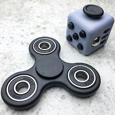 USA Fidget Cube + Hand Spinner COMBO SET Anxiety Stress Relief Focus Desk Black