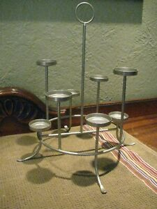 Silver Metal Circle Tiered Tea Light Candle Holder Candelabra Holds 8 Candles