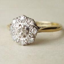 1/4 Ct Sim Diamond Antique Flower Engagement Cluster Ring 18K Yellow Gold Fn