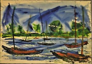 Andrew Bucci Signed Watercolor C. 1952 Boats on the Gulf Mississippi Artist