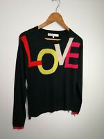 Next Uk 8 Navy Blue LOVE Spell Out Long Sleeve Knitted Jumper