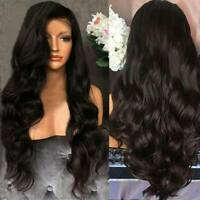 Women Black Full Wig Brazilian Remy Human Hair Body Wave Silk Human Hair Wigs AU
