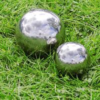 Silver Mirror Garden Sphere Ornaments Stainless Steel Gazing Balls - 9, 13cm Set