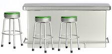 Dollhouse Miniature -4 pcs 1950s Bar Set - Metal Counter w/ 3 Green Stools top