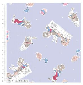 HALF METRE- Mad hatters tea party fabric/Alice in wonderland 100% cotton fabric-