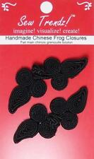 Frogs Button Closures- Black-Paisley Design - 2 Pair/pk - #FG03