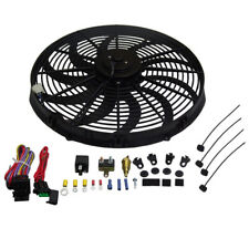 """HEAVY DUTY 16"""" ELECTRIC RADIATOR S-BLADE COOLING FAN 3000CFM RELAY THERMOST KIT"""