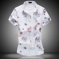 Casual New Mens Linen Blend T-Shirt Slim Fit Short Sleeve Fashion Floral Shirt