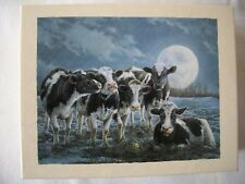 "NEW - GWS Artist Bonnie Marris Deluxe Note Cards image ""Moonshine"" - Cow Card"