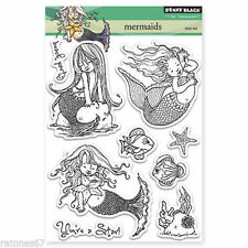 New Penny Black MERMAIDS Clear Stamp Girl Fish Star Ocean Kids Ocean