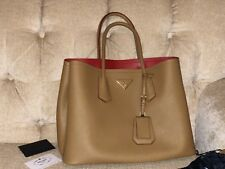 Prada Saffiano Cuir Double Tote Bag Leather Handbag Cameo Red Lambskin Interior