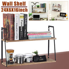 Two-layer Floating Storage Display Shelf Wooden Iron Wall Shelf Rack Home Decor