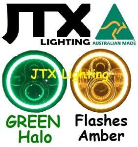 "1pr7"" LED Headlights GREEN Halo Hillman Hunter Gazelle Minx Flash AMBER turning"