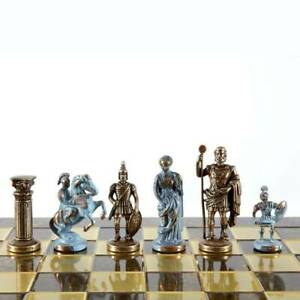 Manopoulos Greek Roman Army Large Chess Set - Blue Copper Pawns - Brown Board