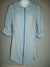 Lur Womens Jacket Size M Blue White Stripe Jersey Knit Hooded Zip 3/4 Sleeves