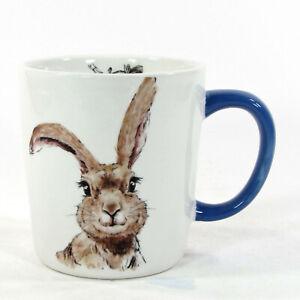 NEW Pier 1 Imports HENRY BUNNY 16oz Mug Rabbit Flower Butterfly Blue Easter