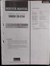 SANSUI CD-E750 Lecteur CD Service De Réparation Workshop Manual (original)