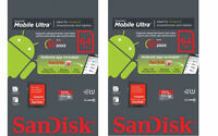 Lot of 2 x 64GB = 128GB SanDisk Mobile Ultra Micro SDXC SD XC Class 10 30MB/s