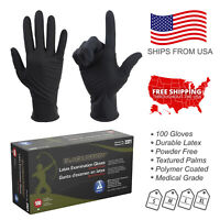 100PC Black Arrow Latex Exam Gloves Powder Free Strong Disposable Medical Grade