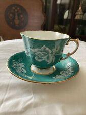 AYNSLEY English Bone China Porcelain Green Cup & Saucer ROSE Gold Beautiful