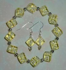Yellow Dice Jewelry Set! Bracelet & Earrings! Bunco/ Bunko/Casino Party! Gamers!