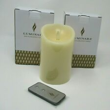 """2 Luminara Flameless Moving Wick Ivory Candles Pillar Scented with Remote 5"""""""