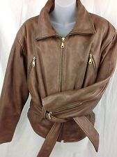 Vintage Brown Leather Biker Motorcycle Jacket Womens Small BLUE LINE & COMPANY