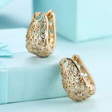 Wholesale 18K Gold Filled Hollow Lace  Huggie Hoop Earrings