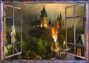 Harry Potter Castle Diagon Alley Wizard 3d Window Wall Sticker Poster Room z684