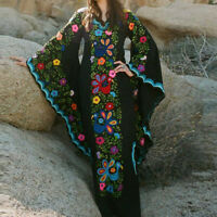 Women Vintage Bohemian Boho Dress Print V Neck Trumpet Sleeve Long Maxi Dress