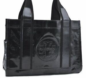Authentic TORY BURCH Miller Tote Hand Bag Enamel Black D4299