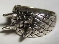 DELUXE FIVE SPIKES BIKER RING #BR230 MEN WOMENS jewelry SILVER new spiked punk
