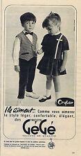 PUBLICITE ADVERTISING 094 1963 GEGE vêtements pour enfants