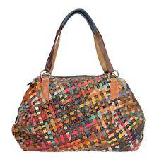 Tasche Schultertasche Echt Leder Shopper Multicolor NEU Geflochten Design Retro