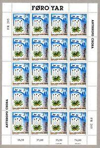 1991 FAROE ISLANDS 4 SHEETS OF 20 FLORA & FAUNA SCOTT #216-219 MNH + 5 FDCs