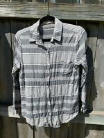 Lili's Closet Anthropologie Top Gray White Striped Shirt Extra Small Blouse