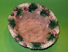 """Fitz & Floyd Raspberries & Blossoms bowl with leaves & vines border 8 3/4 """" wide"""