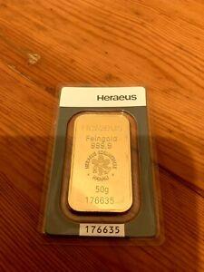 Heraeus - 50 Gramm Goldbarren - 999,9 Gold -  Feingold Barren 50 g