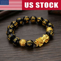 Feng Shui Black Obsidian Alloy Wealth Bracelet w/Golden Pixiu Lucky Jewelry Xmas