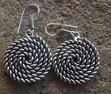 Handmade ethnic oxidised indian silver plated spiral ethnic style earrings