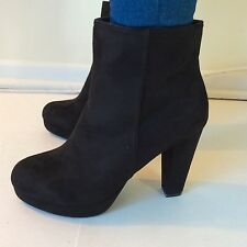 Bamboo High Heel Black Suede Platform Ankle Boots Short Boots Pump Sexy 6 To 10